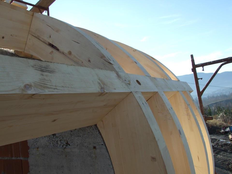 Prvačina - montaža lesene pod konstrukcije - križno vijačenje - vijaki gofix x+