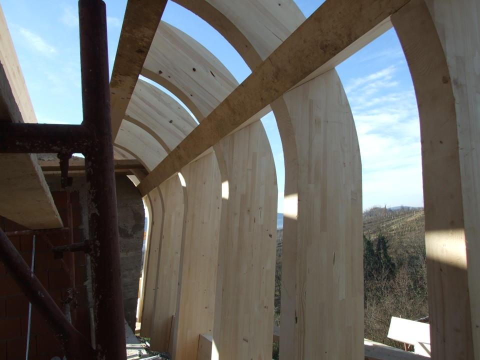 Prvačina - montaža lesene pod konstrukcije - križno vijačenje - vijaki gofix x+ -  8 x 330 mm