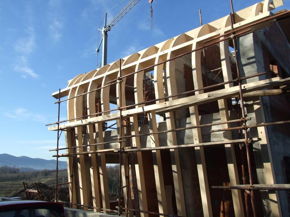 Prvačina - montaža lesene pod konstrukcije - lesni vijaki gofix ms II