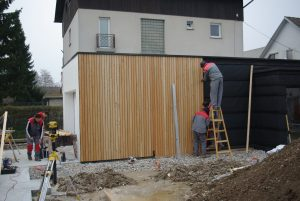 Lesena fasada Vič - Fassadenclip FCS -natančna montaža